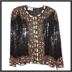 Beaded Jacket S DRAMATIC Evening Cocktail Top